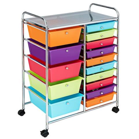 15-Drawer Utility Rolling Organizer Cart Multi-Use Storage-Deep Multicolor
