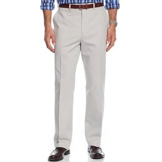Michael Kors Cotton Twill Chinos Pants Stone Grey Flat Front and Hemmed