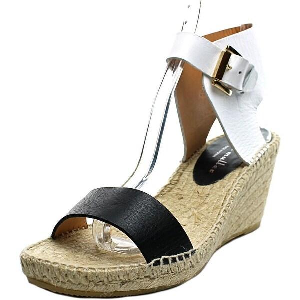 Bettye Muller Devon Women Open Toe Leather White Wedge Heel