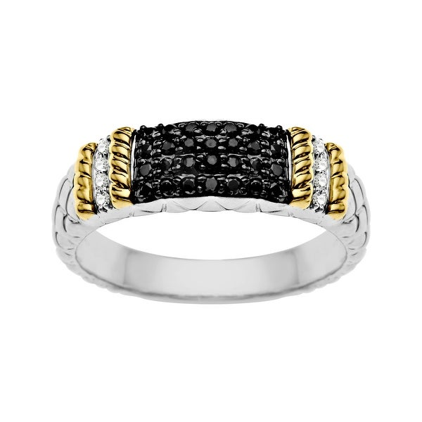 1/5 ct Black and White Diamond Ring in Sterling Silver and 14K Gold