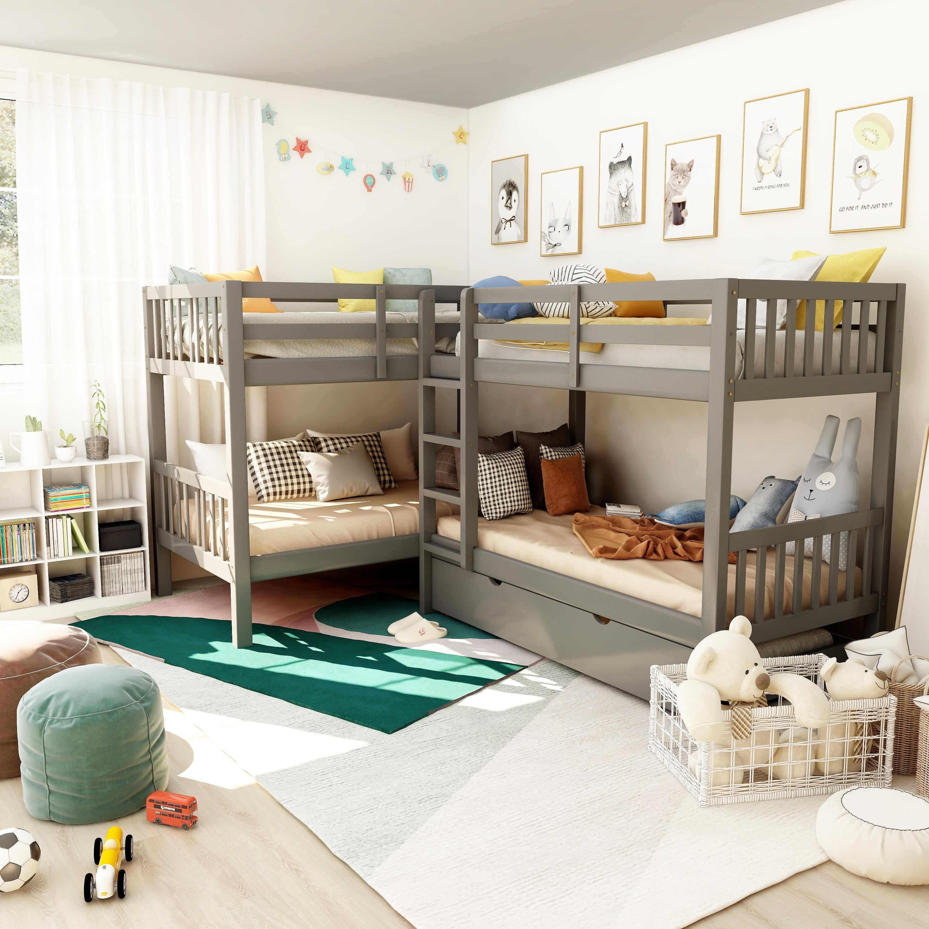 Furniture Of America Jis Modern Twin Solid Wood L Shaped Bunk Bed On Sale Overstock 14406666 Grey