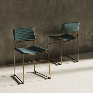 Link to Modrest Swain Modern Green Fabric & Gold Dining Chair (Set of 2) Similar Items in Dining Room & Bar Furniture