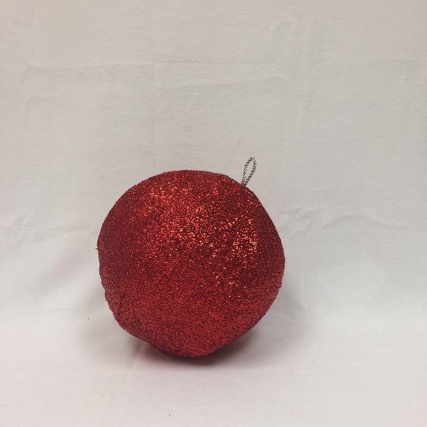 "12"" Sparkly Red Inflatable Tinsel Ball Commercial Christmas Ornament"