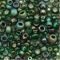 Toho Multi-Shape Glass Beads 'Bonsai' Green/Black Color Mix 8 Gram Tube - Thumbnail 0