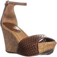 Kenneth Cole REACTION Sole Ness Perforated Wedge Ankle Strap Sandals, Toffee - 7 us / 37.5 eu