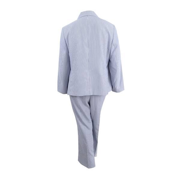 Shop Le Suit Women S Plus Size Seersucker Pantsuit 20w Navy
