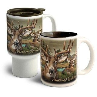 American Expedition Deer Collage Home&Away Stoneware Mug Set - CM-CT-302