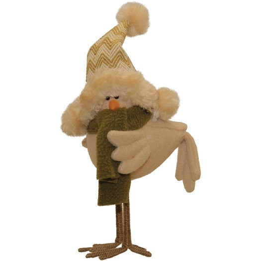 "8.25"" Beige Standing Bird with Hat and Scarf Tabletop Decoration"