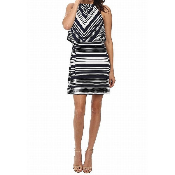 Jessica Simpson Blue Womens Size 12 Striped Popover Shift Dress