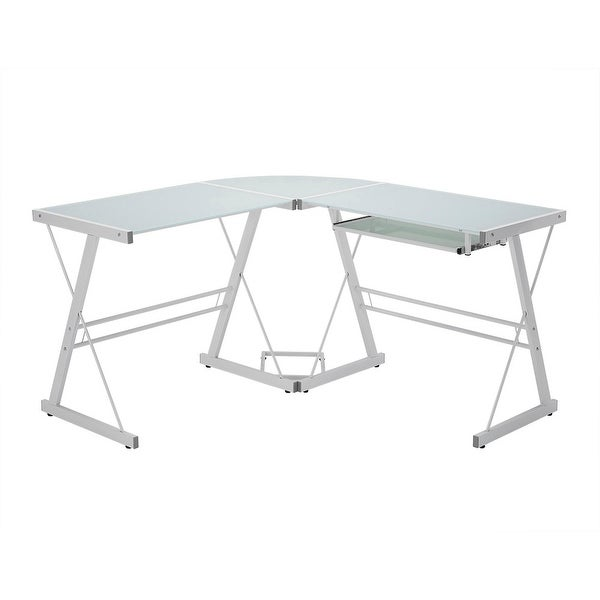 "Delacora WE-BD51W29 51"" Wide Glass and Steel Computer Desk with Sliding Keyboard - White"