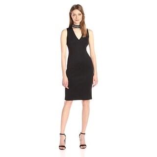 Calvin Klein Studded Mock-Neck Sheath Cocktail Dress Black - 6