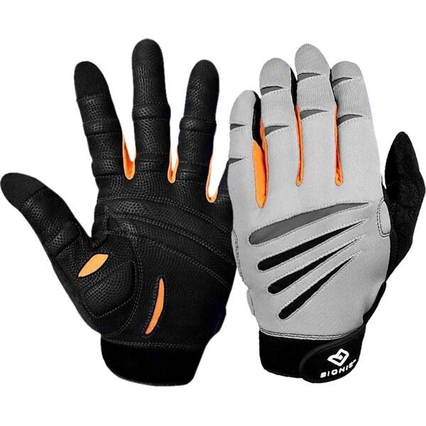 Bionic Men's Cross-Training Premium Full Finger Fitness Gloves-Gray/Black/Orange - gray/black/orange