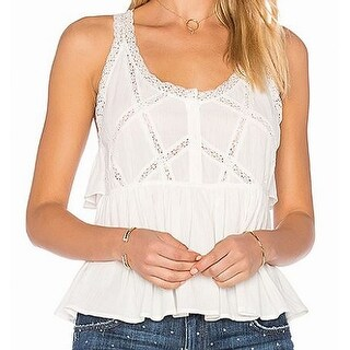 Current/Elliot White Lace Peplum Babydoll Womens 2 Knit Top Blouse