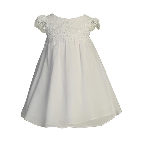 3a98e1a8f5083 Ellie Kids Little Girls White Eyelash Lace Chiffon Flower Girl Dress 2