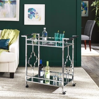 Link to Rosewood Chrome Floral Bar Cart with Mirror Bottom and Glass Top by iNSPIRE Q Bold Similar Items in Home Bars