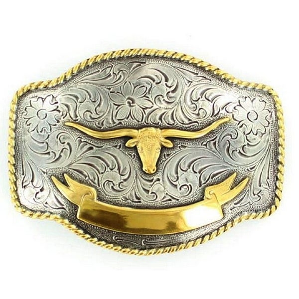 Nocona Western Belt Buckle Longhorn Silver Gold - 3 x 4