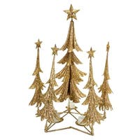 Pack of 2 Gold Christmas Tree Candle Holder 21""