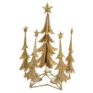 """Pack of 2 Gold Christmas Tree Candle Holder 21"""""""