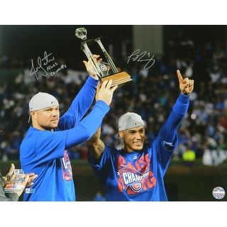 Jon Lester  Javier Baez Dual Chicago Cubs 2016 NLCS Holding MVP Trophy 16x20 Photo wNLCS CoMVPs