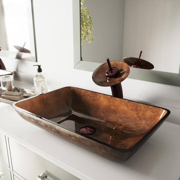 VIGO Russet Glass Vessel Bathroom Sink and Waterfall Faucet Set. Opens flyout.