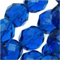 Czech Fire Polished Glass Round Beads 8mm Capri Blue (25)