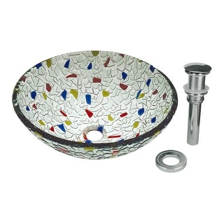 Round Vessel Sink Tempered Glass Bowl SInk Mosaic Style