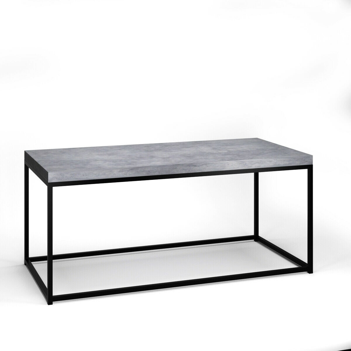 Gymax Modern Rectangular Tail Coffee Table Metal Frame Living Room Furniture Black And Cement