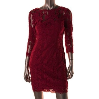 Adrianna Papell Womens Petites Lace 3/4 Sleeves Cocktail Dress