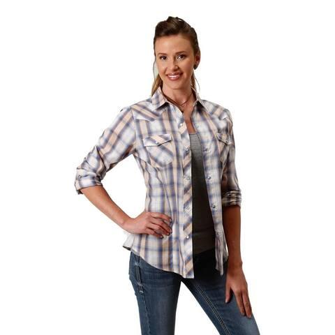 Roper Western Shirt Women L/S Plaid Blue Tan White