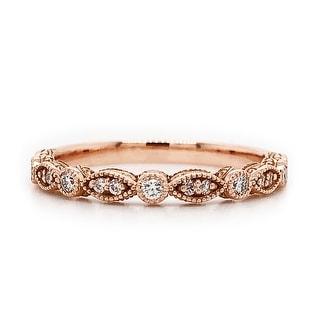 Auriya 1/8ctw Vintage Diamond Wedding Band 14k Gold Stackable