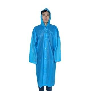 Outdoor Travel EVA Portable Rainwear Button Closure Raincoat Rain Poncho Blue