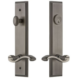 Grandeur CARPRT_TP_ESET_234_LH  Carre Solid Brass Tall Plate Single Cylinder Keyed Entry Set with Portofino Lever and 2-3/4""