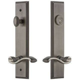 Grandeur CARPRT_TP_ESET_234_RH  Carre Solid Brass Tall Plate Single Cylinder Keyed Entry Set with Portofino Lever and 2-3/4""