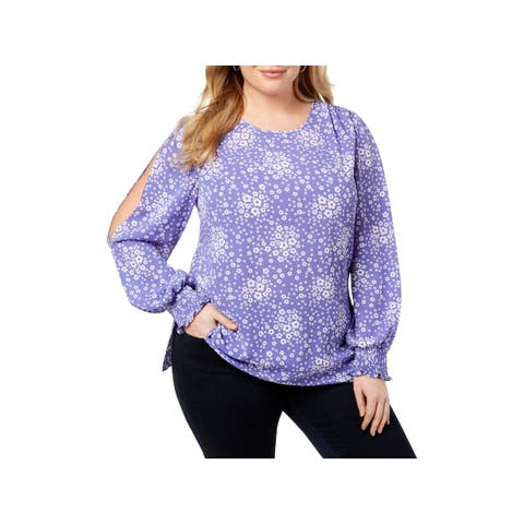MICHAEL Michael Kors Womens Pullover Top Floral Sheer
