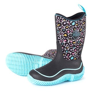 Muck Boot's Youth's Hale Blue Leopard Boots w/ Diamond Tread Outsoles - Size 4