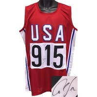 Carl Lewis signed Red TB Team USA Custom Stitched Pro Style Track  Field 915 Jersey XL JSA Hologram