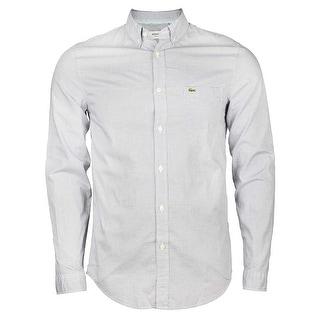 Lacoste Regular Fit Finely Checked Poplin Shirt in Denim/White Officer
