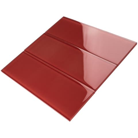 "TileGen. 4"" x 12"" Glass Subway Tile in Red Wall Tile (30 tiles/10sqft.)"