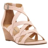 Lucky Brand Women's Jewelia Strappy Wedge Sandal Misty Rose Leather