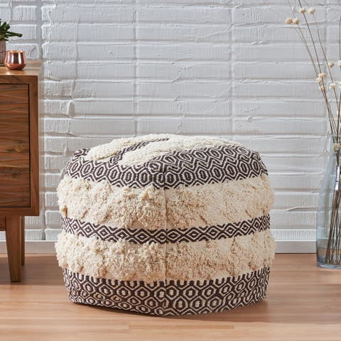 Lamoree Hand-Woven Fabric Cube Pouf by Christopher Knight Home