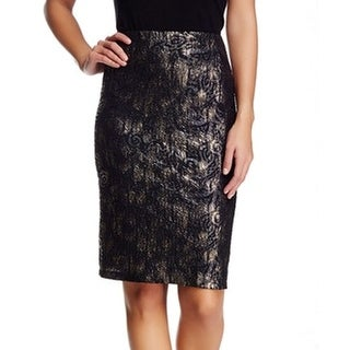 Bobeau NEW Black Gold Jacquard Small PS Petite Straight Pencil Skirt
