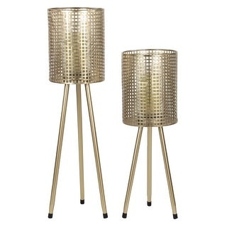 Link to Tall Cylindrical Gold Mesh Metal Candle Holders on Tripod Bases, Set of 2 - 8 x 8 x 30 Similar Items in Decorative Accessories