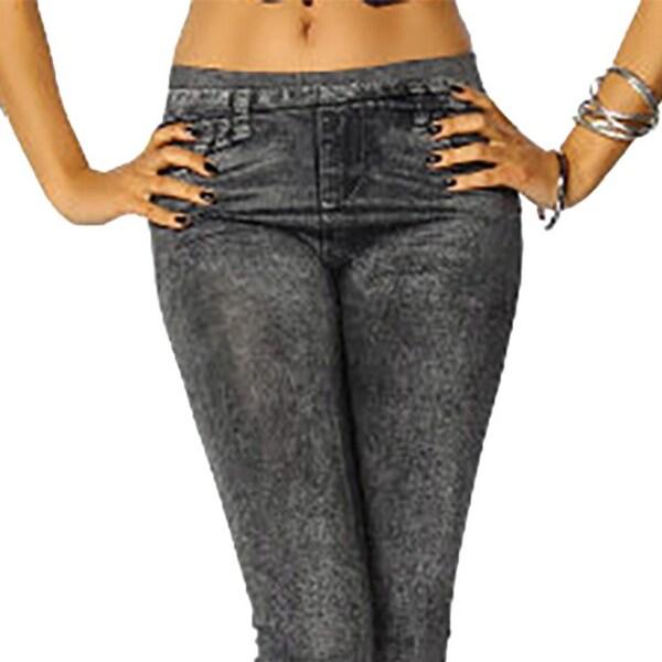 421b1439a647c Shop Women's Faux Worn Denim Leggings Medium Black - Free Shipping On  Orders Over $45 - Overstock - 23168115