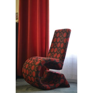 Shop Forte Red Black Patterned Fabric Accent Chair Free