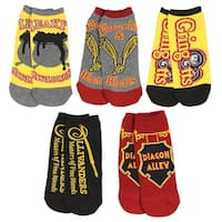 Harry Potter Womens Diagon Alley No-Show Socks 5 Pair Pack