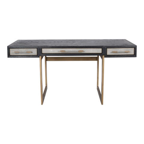 Aurelle Home Milton Solid Oak and Brass Desk