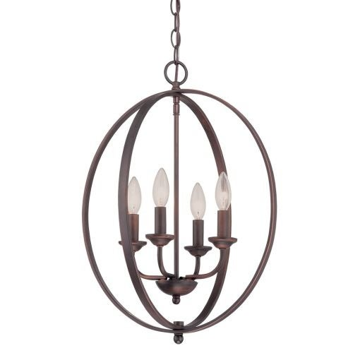 """Millennium Lighting 3034 4 Light 16"""" Wide Pendant with Cage Frame and Candle Style Lights"""