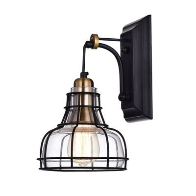 Black and Antique Gold 1-Light Indoor Wall Sconce with Clear Glass