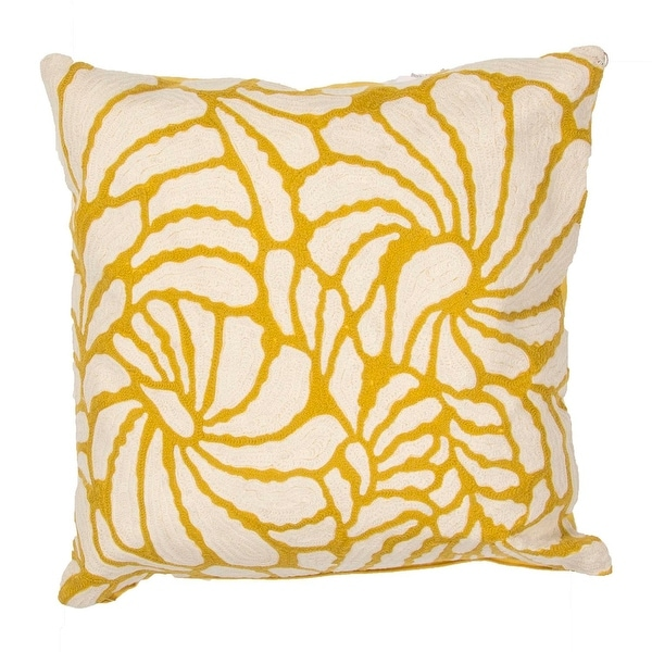 """18"""" Yellow and Cream Abstract Floral Pattern Decorative Throw Pillow"""