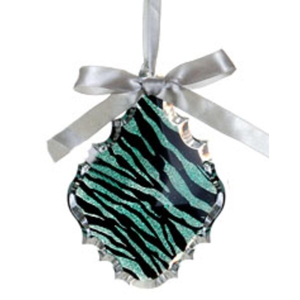 "5.5"" Glittered Teal Zebra Print Teardrop Prism Christmas Ornament"